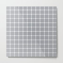 Dotted Grid Grey Metal Print