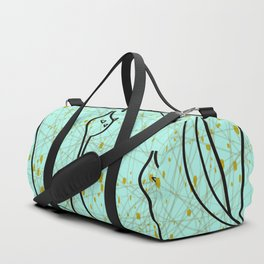 Mid Century Modern Cool Cats - Aqua Duffle Bag