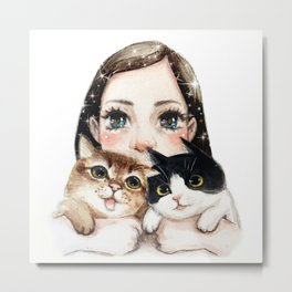 Kiko and two cats Metal Print