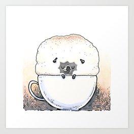 Cappugccino - black pug Art Print