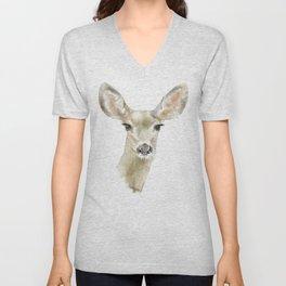 Doe Deer Watercolor Painting Fine Art Unisex V-Neck