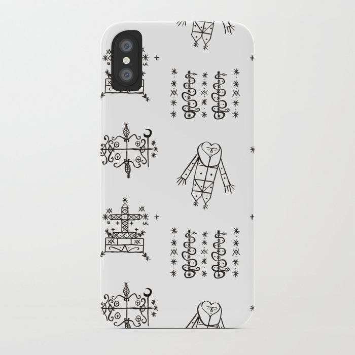 Papa Legba + Baron Samedi + Gran Bwa + Damballah-Wedo Voodoo Veve Symbols  in White iPhone Case by elliottdesignfactory