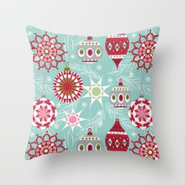 Retro Christmas Paper Pattern Throw Pillow