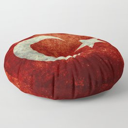 Flag of Turkey, in Grungy Vintage Floor Pillow
