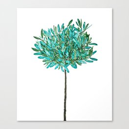 one young olive tree watercolor Canvas Print