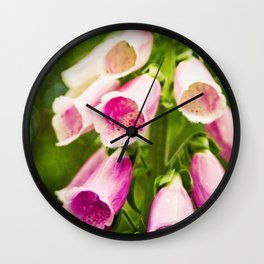 Painted Foxgloves Wall Clock