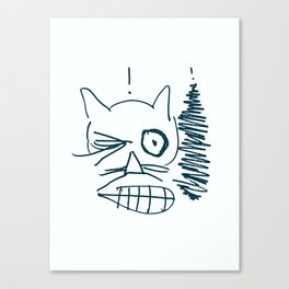 Startled One-Eyed Cat Canvas Print