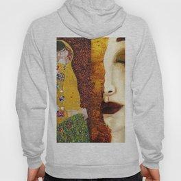 Gustav Klimt: The Kiss & Freya's Tears golden-red flower anemone college portrait painting Hoody