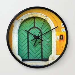 Green Door on Yellow Wall in Budapest Photo Wall Clock