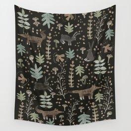 Woodland Nature at Night Wall Tapestry