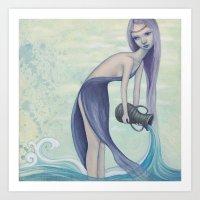 aquarius Art Prints featuring Aquarius by Artist Andrea