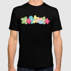 Colorful Flowers Pattern Black MEDIUM Mens Fitted Tee