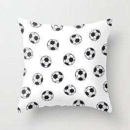 Modern Artsy Watercolor Black White Soccer Balls Pattern Throw Pillow