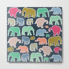 Elephants, Polka Dots, Zigzag (Chevron), Gingham Metal Print