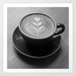 Cafe Heart - Black and White Art Print