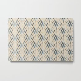 Calming Blue Polka Dot Scallop Pattern on Beige Pairs To 2020 Color of the Year Chinese Porcelain Metal Print