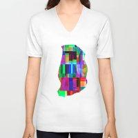 glitch V-neck T-shirts featuring GLITCH by C O R N E L L