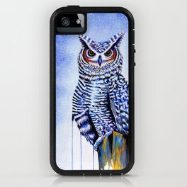 Blue Great Horned Owl iPhone Case