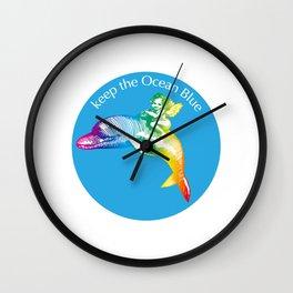 Keep the Ocean Blue_Rainbow Dolphin_B Wall Clock