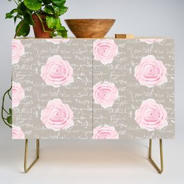 Watercolor roses on Taupe with French script Credenza