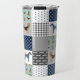 Airedale Terrier Cheater Quilt -  patchwork, airedale, dog, blanket, cute design Travel Mug