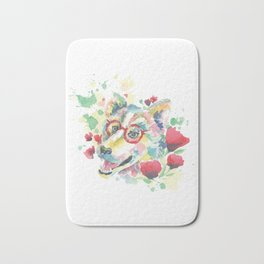 Watercolor Wolf Floral Animal Bath Mat