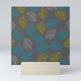 Mid Century Modern Falling Leaves Turquoise Chartreuse Gray Mini Art Print