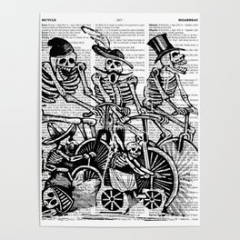 Calavera Cyclists | Black and White Poster