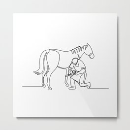 Farrier and Horse Continuous Line Metal Print