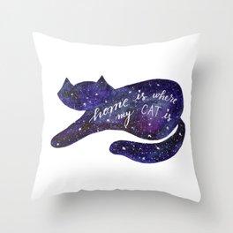 Watercolor Galaxy Cat - purple Throw Pillow