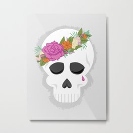 Graphic Skull with Flower Crown Metal Print