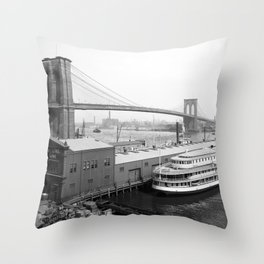 Brooklyn Bridge and the East River - NYC - 1905 Throw Pillow