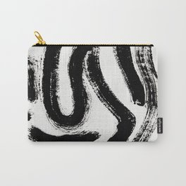 Black and White Abstract Pattern 1: A minimal black and white pattern by Alyssa Hamilton Art Carry-All Pouch