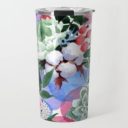 Stunningly Exquisite Watercolor Floral Print Travel Mug