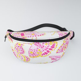 Butterfly Pattern Pink Gold White Fanny Pack