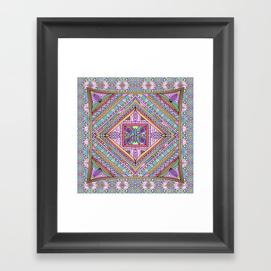Sweet Funky Retro Mandala Framed Art Print