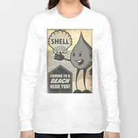 oil Long Sleeve T-shirts featuring Oil Spills by Sophie Broyd