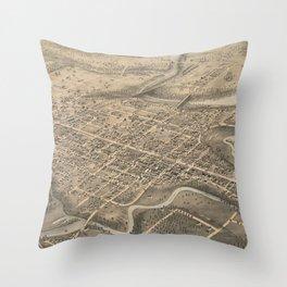 Vintage Pictorial Map of St. Thomas Ontario (1875) Throw Pillow