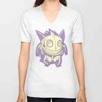 gengar V-neck T-shirts featuring Pocket Man Anatomy #94 Gengar by jazzmoth