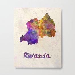 Rwanda in watercolor Metal Print