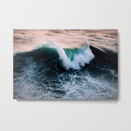 Wild wave on Nazare beach during sunset – Ocean Photography Metal Print