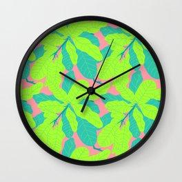 Tropicana Banana Leaves in Neon Peach + Lime Wall Clock