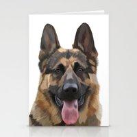 german shepherd Stationery Cards featuring German Shepherd by Just Like A Breeze