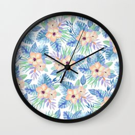 Tropical coral lilac lavender blue watercolor floral Wall Clock