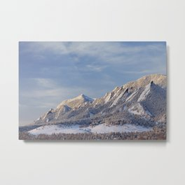 Winter Snow on Flatirons in Boulder Colorado Metal Print