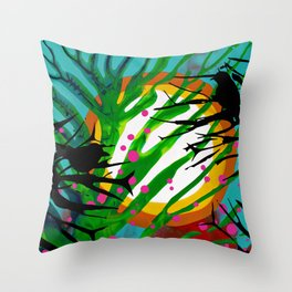 Birds Chatting: 2 birds on a branch chatting about the sun rise / sunset Throw Pillow