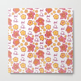 Pink and Yellow Floral 'Not Your Babe' print Metal Print