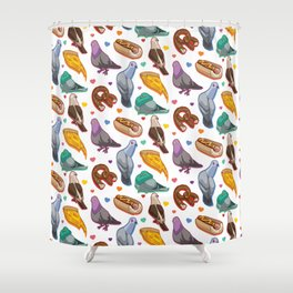 Pigeon Party Shower Curtain