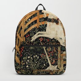Unicorn Fenced in Garden Medieval Tapestry Backpack