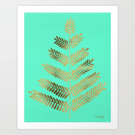 Leaflets – Turquoise & Gold Art Print